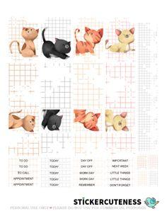 Free Printable Cute Kittens Planner Stickers from StickerCuteness