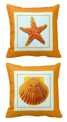 Add orange and the coast to your space with a starfish and scallop seashell pillow! By Beach Bliss Designs: http://www.beachblissdesigns.com/2015/07/orange-starfish-seashell-pillow.html $30.95