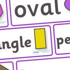 A set of word cards covering the main vocabulary of 2D shapes.