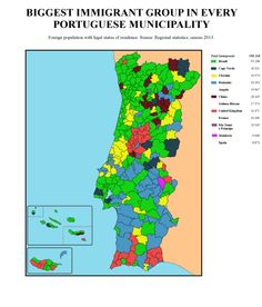 Biggest immigrant group in every Portuguese municipality.[[MORE]]Data taken form the statistics reports of each region of Portugal.So as you can see, portuguese speaking immigration is still the biggest one, but east europeans are growing fast in the last decad, same with the chinese population. Some Centro and most Algarve municipalities have big english groups.