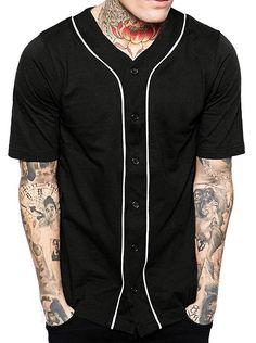 Mens Baseball Button Down Jersey Hipster Hip Hop T Shirts 1UPA01 -  Black White - de267afa1dc7