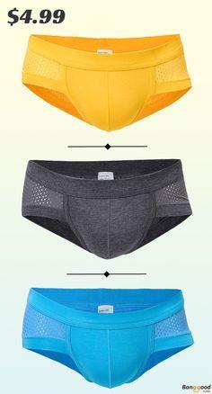 0b27db0e39b1 Modal Boxers, Mens Briefs, U Convex Pouch Briefs, Mesh Briefs, Mens Casual  Breathable Briefs, Soft Underwear. Color: Blue, Black, White, Yellow, Gray.