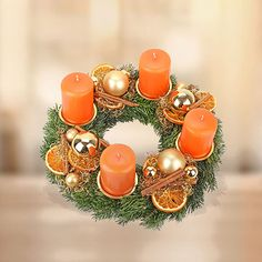 Love the gold and orange. German Advent Wreath