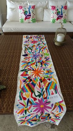 Wonderful Table Runner, Otomi Fabric, Mexican Textile, Hand Embroidered, 100% Cotton  TR813