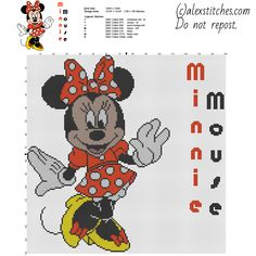 Disney Minnie Mouse character big size cross stitch pattern 149 x 149 stitches 7 DMC threads