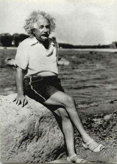 Albert Einstein on the beach