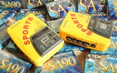 """••WALKMAN 4••1988 – the original portable music device by Sony 1979-07-01 ($150) to 2010-10-25; invented by Andreas Pavel  engineer Nobutoshi Kihara for Sony co-chair Akio Morita; 220M units sold in 31 years vs iPod 2001-11-10 320M+ in 11 years! • wiki: http://en.wikipedia.org/wiki/Walkman • article by The Verge """"The history of the Walkman"""" 2014-07-01 • depicted: Walkman 4 """"Sony Sports WM-B52"""" 1st water proof audio player"""