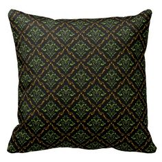 Autumn Colors Damask IBN on Black Throw Pillow