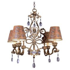 Weathered four-light chandelier with an openwork frame and crystal drops.  Product: ChandelierConstruction Material:...
