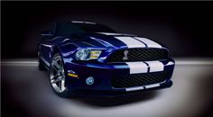 Blue and White Stripes Ford Mustang Shelby 2010 gt500