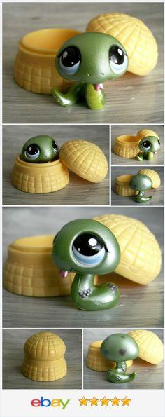 Littlest Pet Shop 969 Green Shimmer Cobra Snake /w Basket Original Accessory