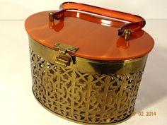 Vintage Lin Bren Gold Metal Filigree Oval by TimelessTreasuresbyM, $95.00