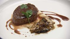 Eye Fillet of Beef with Cauliflower and Speck Puree, Mushrooms and Red Wine Jus