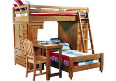 picture of Creekside Taffy Twin/Twin Student Loft Bed with Desk and Chests from Bunk/Loft Beds Furniture Safe Bunk Beds, Wood Bunk Beds, Kids Bunk Beds, Loft Beds, Bedroom Furniture Stores, Kids Room Furniture, Bed Furniture, Furniture Ideas, Bunk Bed With Desk
