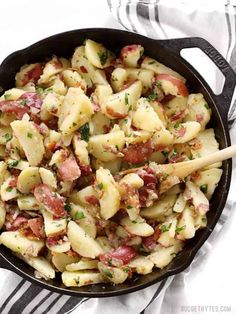 German Potato Salad is tossed in a deliciously sweet and tangy mayo-free dressing with bacon, mustard, and vinegar. Perfect for potlucks! Bacon Recipes, Potato Recipes, Vegetable Recipes, Salad Recipes, Cooking Recipes, Healthy Recipes, Batch Cooking, Yummy Recipes, German Potatoes