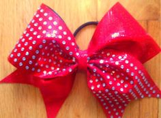 red cheer bow with rhinestones by TonTonsBowtique on Etsy, $15.00