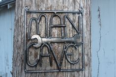 Salvaged rebar man cave sign, rebar art, gift for him, welded by ReyesReclaimed on Etsy