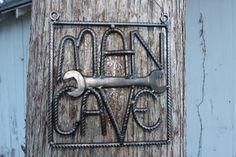 Salvaged rebar man cave sign, rebar art, gift for him, welded by ReyesReclaimed on Etsy