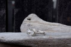Silver and Clear Crystal Wire Wrapped Ring Crystal Ring by Cyclop