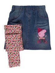 Peppa Pig Denim Skirt and Floral Leggings Set Peppa Pig Family, Pig Girl, Floral Leggings, Asda, Latest Fashion For Women, Baby Toys, Denim Skirt, Little Girls, Girl Outfits