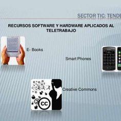 Sector tic: tendencias RECURSOS SOFTWARE Y HARDWARE APLICADOS AL TELETRABAJO E- Books Smart Phones Creative Commons   Sector tic: tendencias RECURSOS HARD. http://slidehot.com/resources/sector-tic-tendencias.55778/