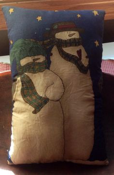 Snowman Pillow..........ofgfaap by hootnanniesbyjeanne on Etsy, $8.00