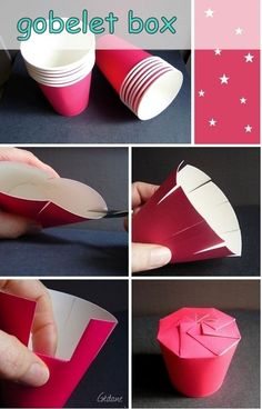 Pappbecher zu einer Schachtel basteln a you really want the many the labels you might Cup Crafts, Diy And Crafts, Paper Crafts, Craft Gifts, Diy Gifts, Diy Advent Calendar, Navidad Diy, Diy Gift Box, Creative Gifts