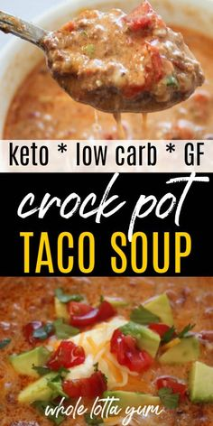 slow cooker recipes An easy crock-pot taco soup with hamburger thats low carb, gluten free and keto taco soup too. Your family will love this slow cooker healthy taco soup recipe that includes directions for the stovetop too. Crock Pot Tacos, Slow Cooker Tacos, Healthy Slow Cooker, Slow Cooker Soup, Slow Cooker Recipes, Crockpot Recipes, Keto Recipes, Dinner Recipes, Dessert Recipes