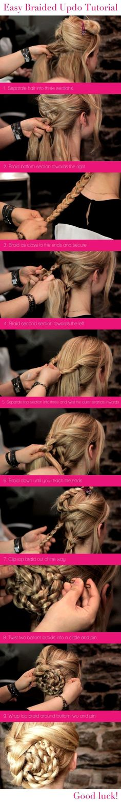 Easy Braided Updo Tutorial Via LongHairStyleShowTo.Com