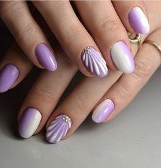 gelnails polish nails design painting by Nails Aqua Nails, Dark Pink Nails, Neutral Nails, Purple Nail Designs, Nail Art Designs, Seashell Nails, Oval Acrylic Nails, Mermaid Nail Art, Cute Gel Nails