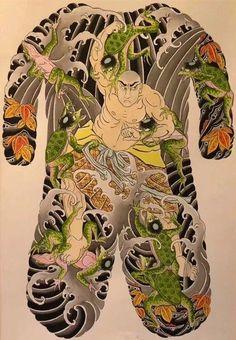 Beware of kappa while bathing. Japanese Tattoo Art, Japanese Painting, Back Piece Tattoo, God Tattoos, Traditional Japanese Tattoos, Japan Tattoo, Back Pieces, Cool Paintings, Kappa