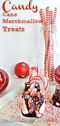 Candy Cane Marshmallow Treats by Uncommon Slice of Surburbia