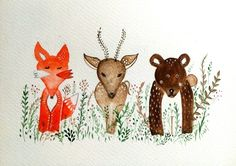 Illustration. friendship in the forest  of a fox, bear and deer by kbbfolk art
