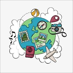Cartoon globe, tourism day, suitcase packing, adventures by disney, travel Doodle Art, Logo Voyage, Travel Doodles, Travel Clipart, Tourism Day, Travel Drawing, Travel Illustration, Bullet Journal Ideas Pages, Instagram Highlight Icons