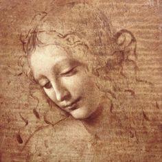 Leonardo di Vinci - exquisite unfinished drawing of a female's face, 'La Scapigliata'