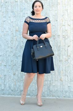 navy dress with cut out neckline