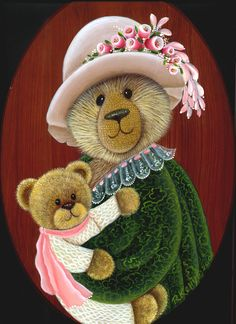 Teddy mother and baby bear Artist Rosalind Kelly Vernon