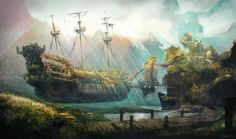 These Magical Flying Ship Illustrations Will Be Your New Desktops Overgrown, by byakko-kun Monkey Island, Town Drawing, Ship Figurehead, Flying Ship, Birds In The Sky, Pirates Cove, Pirate Life, Sea Monsters, Fantasy Illustration