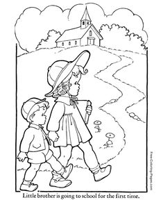 fall coloring pages | Autumn or Fall Coloring Pages - 13- write message in grass space.
