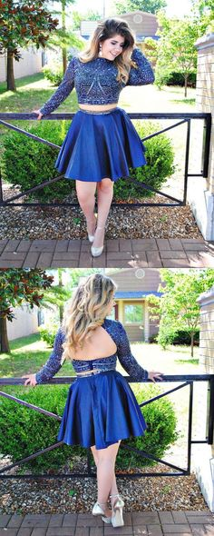royal blue two piece homecoming dresses, open back homecoming gowns