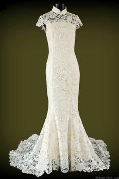 Alluring Mermaid Short Sleeve Lace Chinese Wedding Dress