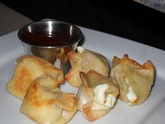 Baked Cream Cheese Wontons with dipping sauce: 1/3 cup white or rice vinegar  4 tablespoons brown sugar  1 tablespoon ketchup  1 teaspoon soy sauce  2 teaspoons cornstarch mixed with 4 teaspoons water    Heat all ingredients except cornstarch on stove. When boiling add the cornstarch/water mix and stir until thickened.