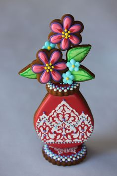 Red Stenciled Cookie Bud Vase by Julia M. Usher, Author of Ultimate Cookies