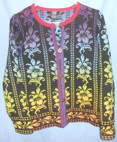 Design Riina Tomberg Estonia Colorful Floral Wool Button Cardigan Sweater M #DesignRiinaTomberg #Cardigan