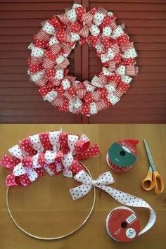 How to make a Christmas Ribbon Wreath.these are the BEST DIY Christmas Wreath Ideas! (How To Make Christmas Ribbon) Christmas Projects, Holiday Crafts, Christmas Ideas, Christmas Colors, Christmas Ribbon Crafts, Holiday Wreaths, Christmas Wreaths To Make, Simple Christmas, Christmas Quotes
