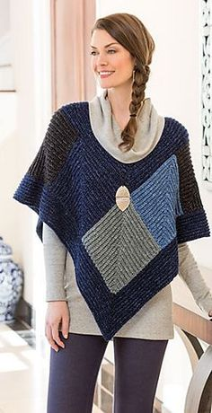 My Denim Poncho by Mona Modica. Magazine Autumn Saved to Evernote/ iBooks. x 3 Mc + 1 of 5 diff contrasts Chic Outfits, Fashion Outfits, Fashion Trends, Knitted Poncho, Crochet Shawl, Modest Fashion, Street Style Women, Knitwear, Sweaters For Women
