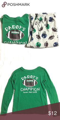 Boy's football Daddy's Champion pajama set Only washed and worn once. Pajamas are light grey with footballs and football helmets :). Bundle 3+ items from me and get 15% off, only pay shipping ONCE, and get a free gift!! Carter's Pajamas Pajama Sets
