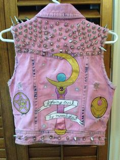 Pink Sailor Moon punk vest. Via http://fuckyeahpunkjackets.tumblr.com