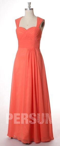 4c01faa2948 Robe cortège mariage longue en mousseline rouge dos découpe. robe  demoiselle d honneur corail longue mancheron