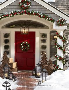 I wish my front porch looked like this, but my new home is gray and I love this red front door!